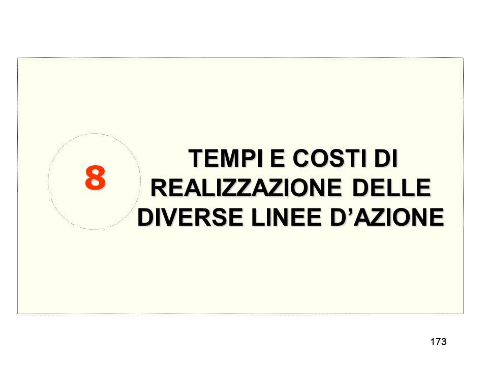 173 TEMPI E COSTI DI REALIZZAZIONE DELLE DIVERSE LINEE DAZIONE 8