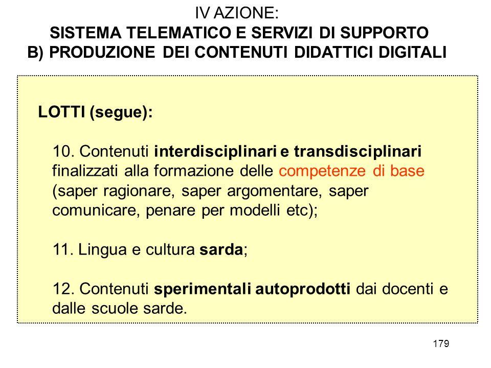 179 IV AZIONE: SISTEMA TELEMATICO E SERVIZI DI SUPPORTO B) PRODUZIONE DEI CONTENUTI DIDATTICI DIGITALI LOTTI (segue): 10. Contenuti interdisciplinari