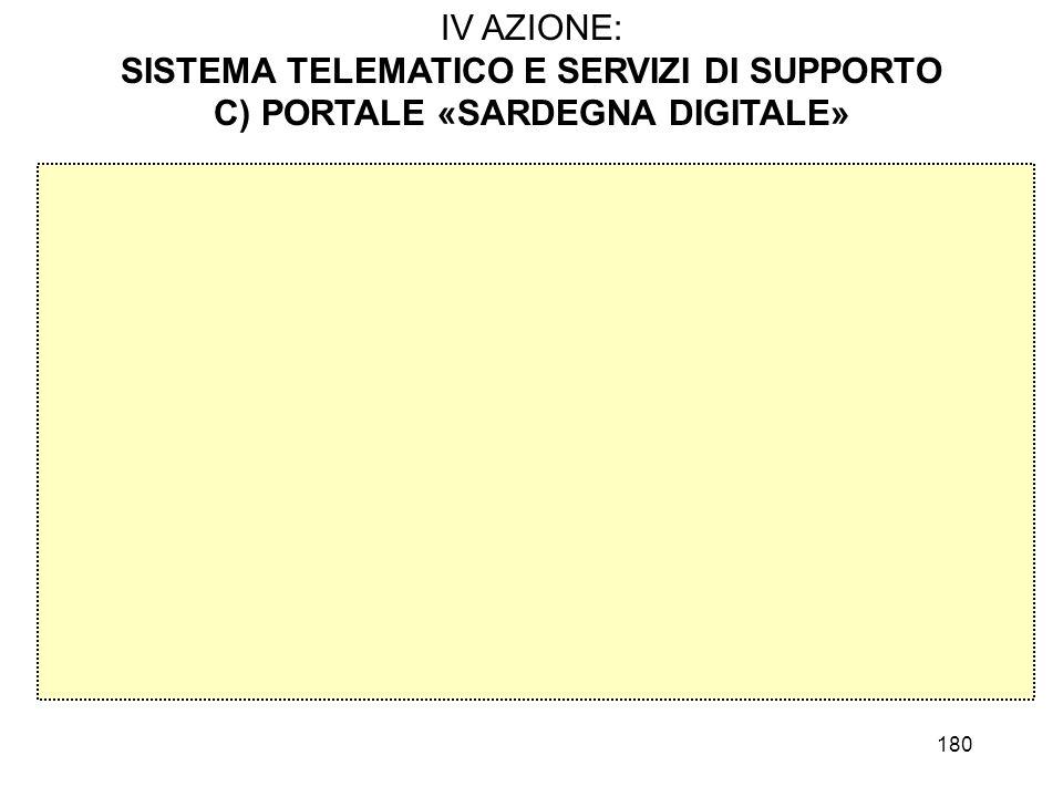 180 IV AZIONE: SISTEMA TELEMATICO E SERVIZI DI SUPPORTO C) PORTALE «SARDEGNA DIGITALE»