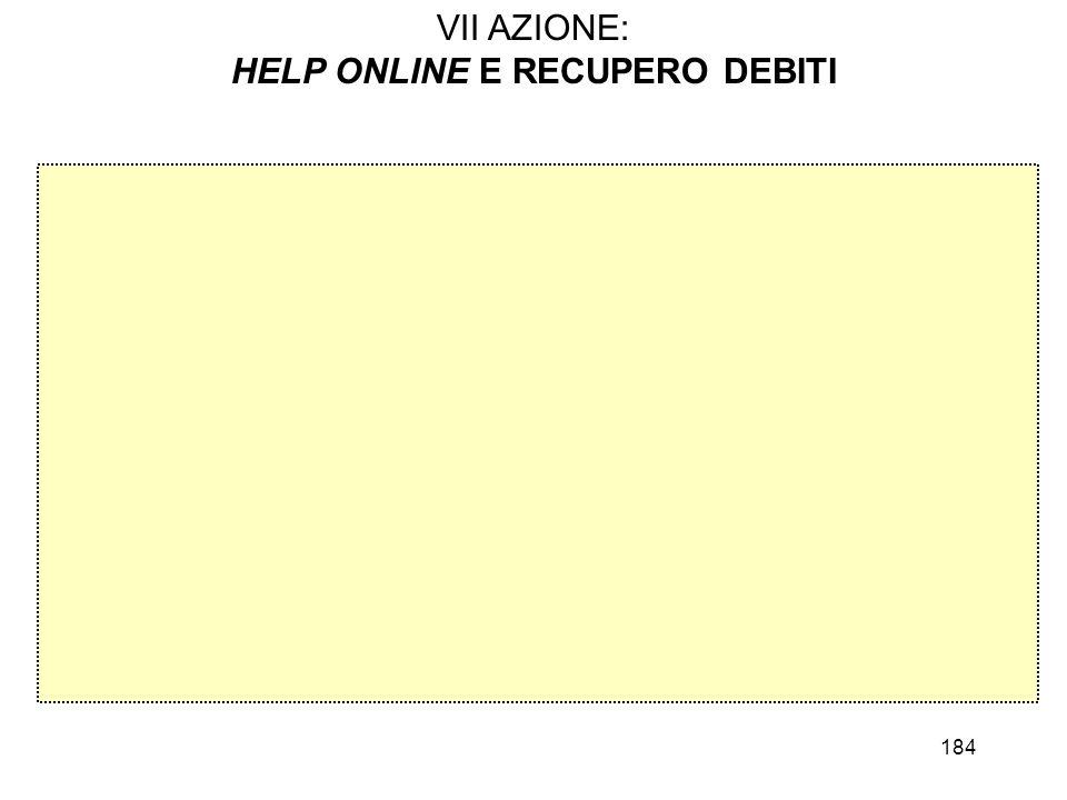 184 VII AZIONE: HELP ONLINE E RECUPERO DEBITI