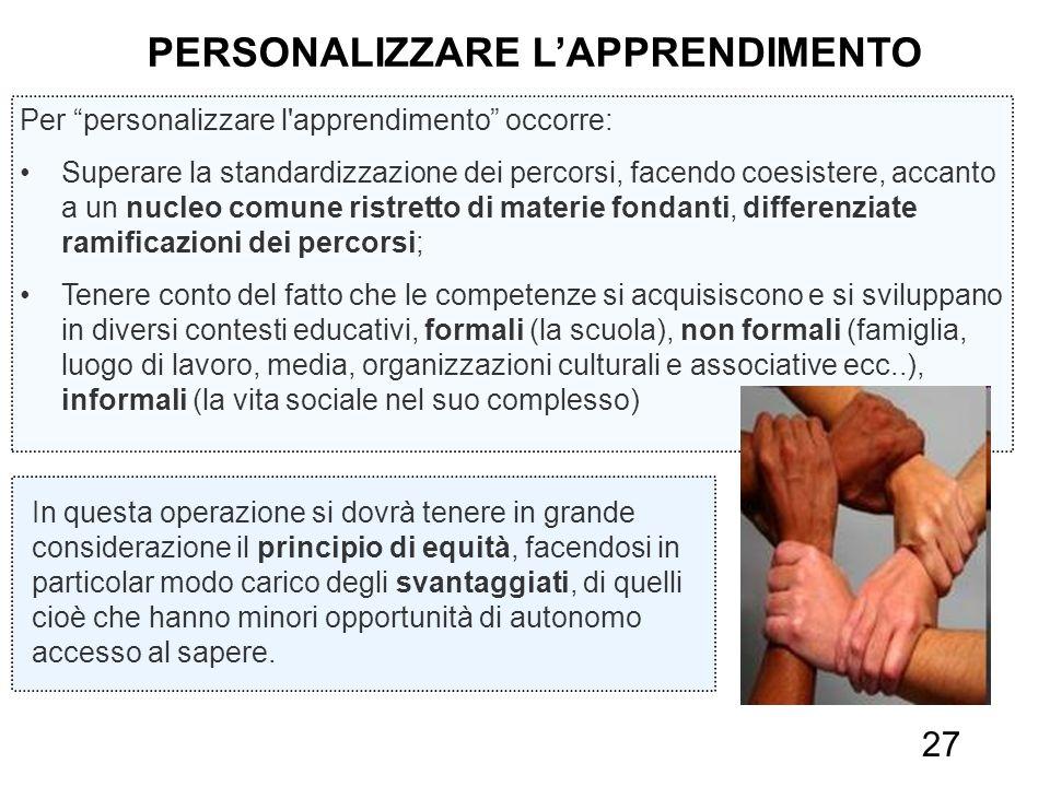27 Per personalizzare l'apprendimento occorre: Superare la standardizzazione dei percorsi, facendo coesistere, accanto a un nucleo comune ristretto di
