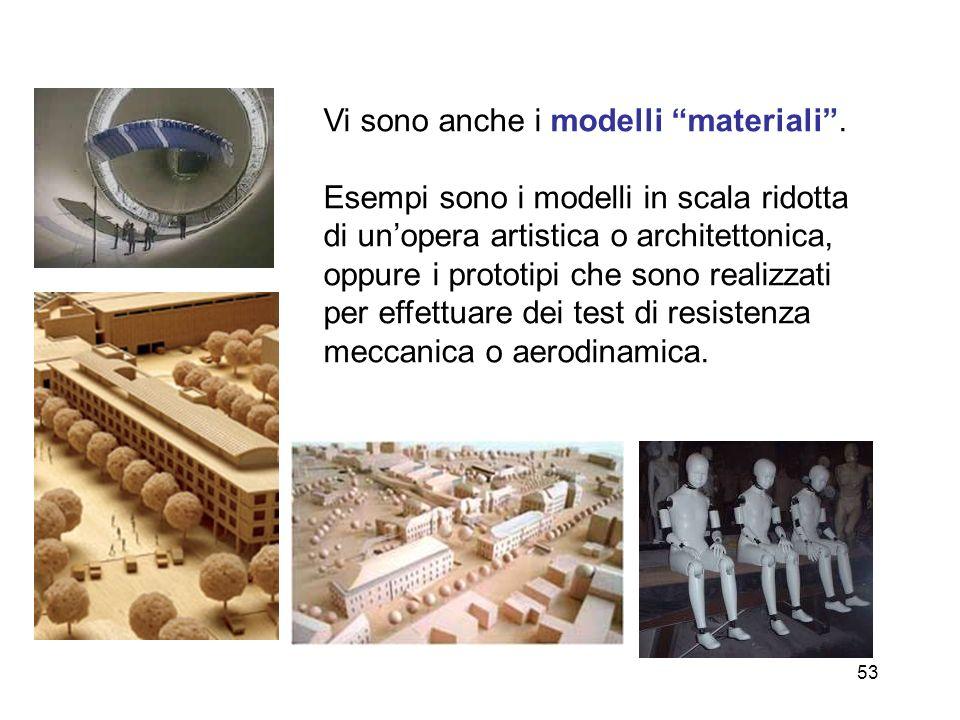 53 Vi sono anche i modelli materiali. Esempi sono i modelli in scala ridotta di unopera artistica o architettonica, oppure i prototipi che sono realiz