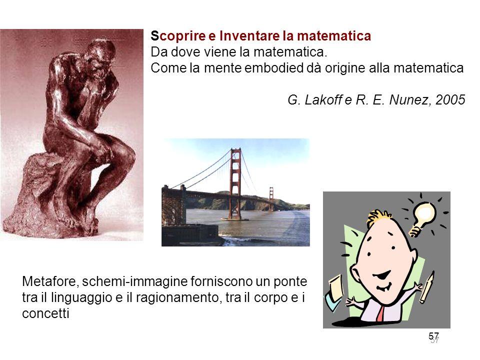 57 Scoprire e Inventare la matematica Da dove viene la matematica. Come la mente embodied dà origine alla matematica G. Lakoff e R. E. Nunez, 2005 Met