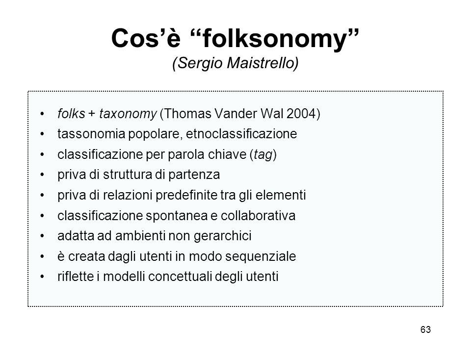 63 Cosè folksonomy (Sergio Maistrello) folks + taxonomy (Thomas Vander Wal 2004) tassonomia popolare, etnoclassificazione classificazione per parola c