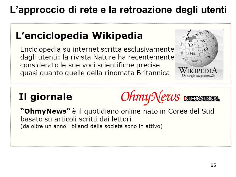 65 Lapproccio di rete e la retroazione degli utenti Lenciclopedia Wikipedia Enciclopedia su internet scritta esclusivamente dagli utenti: la rivista N