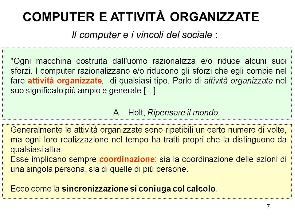 8 COMPUTER E ATTIVITÀ ORGANIZZATE Le attività umane organizzate sono sempre sociali, anche se compite da una singola persona.