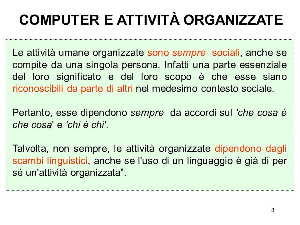 8 COMPUTER E ATTIVITÀ ORGANIZZATE Le attività umane organizzate sono sempre sociali, anche se compite da una singola persona. Infatti una parte essenz