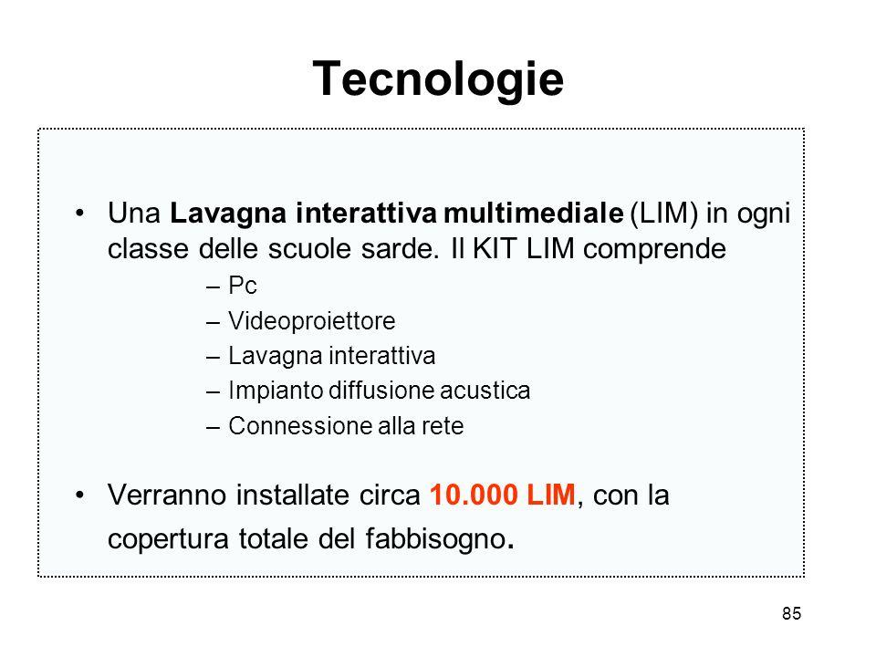 85 Tecnologie Una Lavagna interattiva multimediale (LIM) in ogni classe delle scuole sarde. Il KIT LIM comprende –Pc –Videoproiettore –Lavagna interat