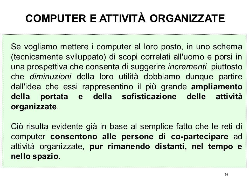 9 Se vogliamo mettere i computer al loro posto, in uno schema (tecnicamente sviluppato) di scopi correlati all'uomo e porsi in una prospettiva che con