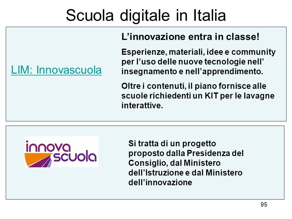 95 Scuola digitale in Italia LIM: Innovascuola Linnovazione entra in classe! Esperienze, materiali, idee e community per luso delle nuove tecnologie n
