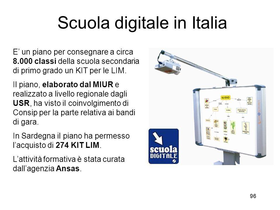 96 Scuola digitale in Italia E un piano per consegnare a circa 8.000 classi della scuola secondaria di primo grado un KIT per le LIM. Il piano, elabor