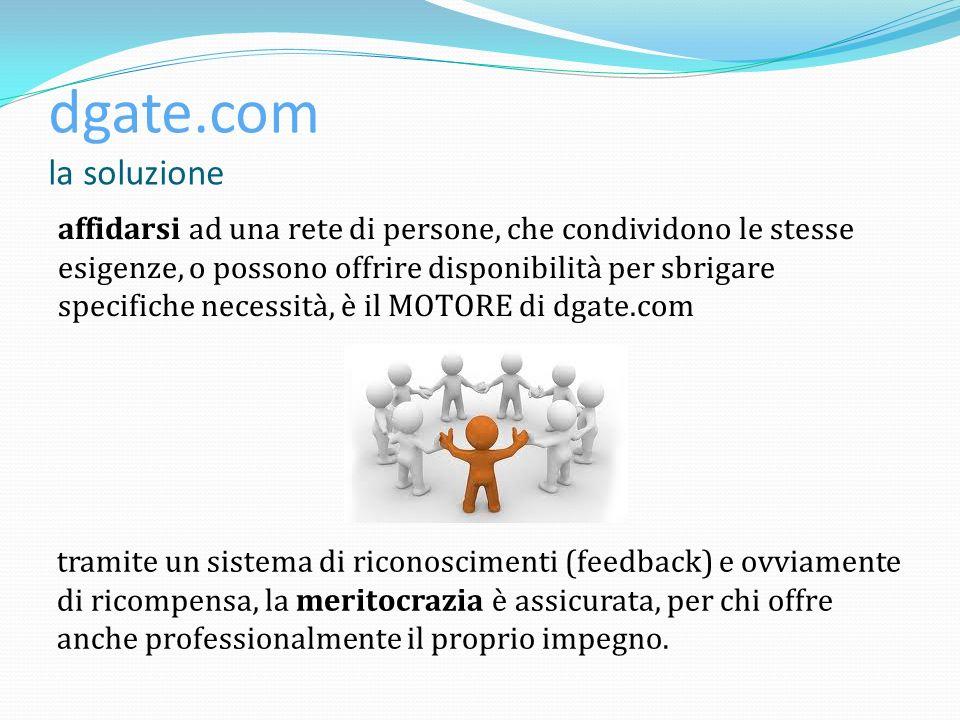 dgate.com la soluzione affidarsi ad una rete di persone, che condividono le stesse esigenze, o possono offrire disponibilità per sbrigare specifiche n