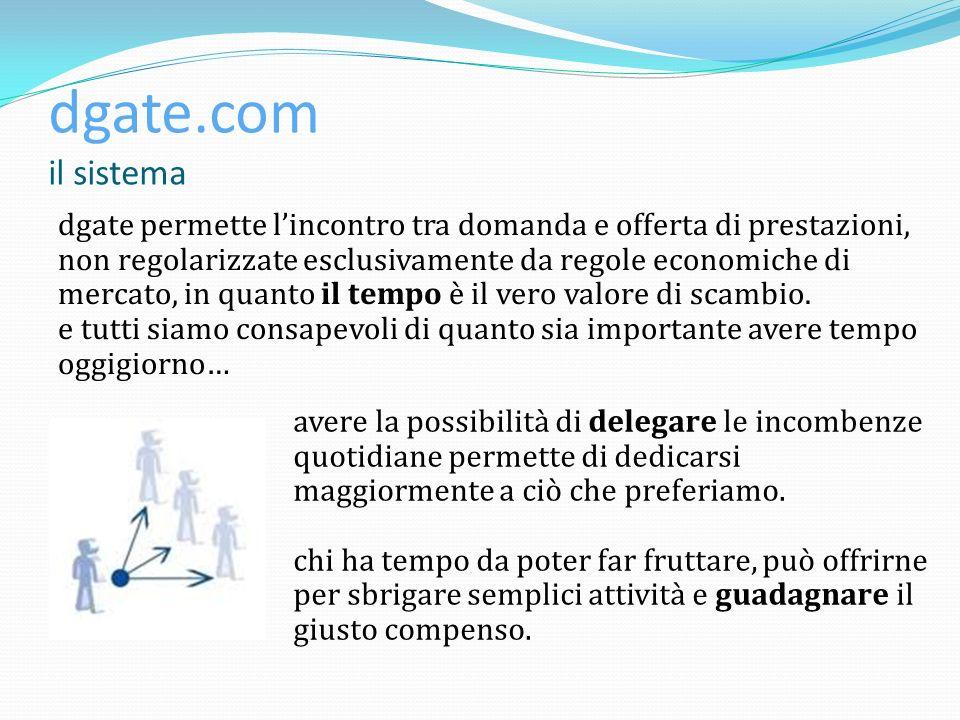 dgate.com il sistema dgate permette lincontro tra domanda e offerta di prestazioni, non regolarizzate esclusivamente da regole economiche di mercato, in quanto il tempo è il vero valore di scambio.