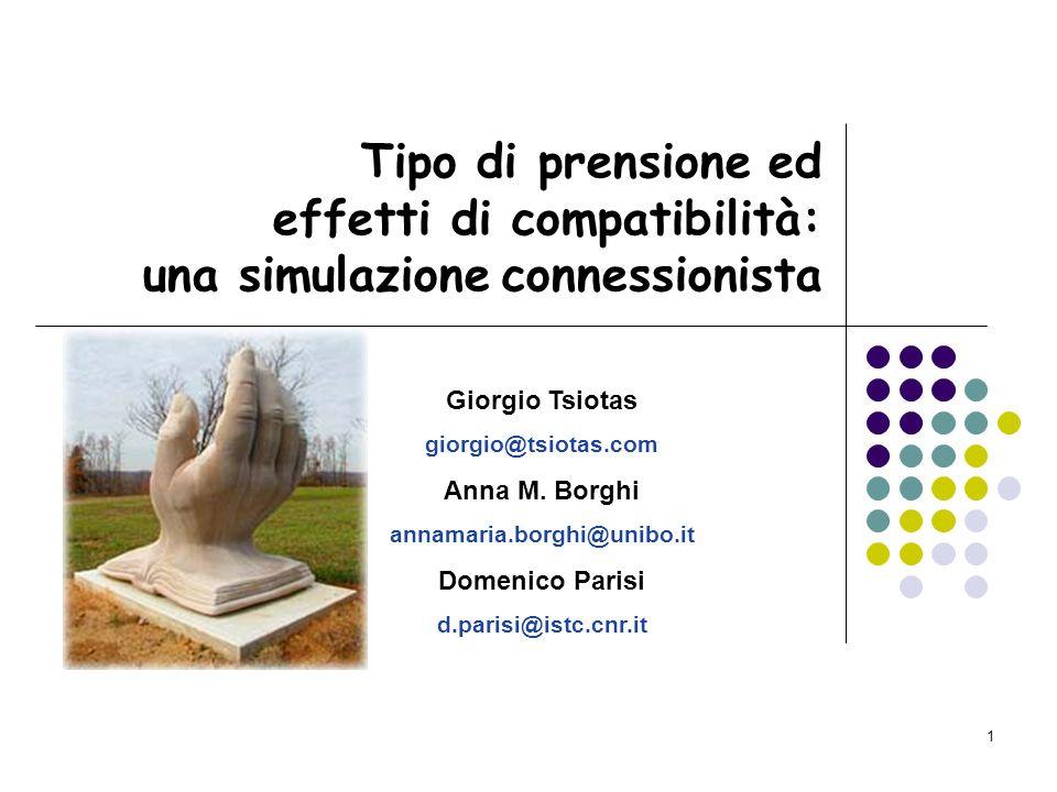 1 Tipo di prensione ed effetti di compatibilità: una simulazione connessionista Giorgio Tsiotas giorgio@tsiotas.com Anna M.