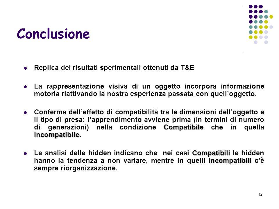 12 Conclusione Replica dei risultati sperimentali ottenuti da T&E La rappresentazione visiva di un oggetto incorpora informazione motoria riattivando la nostra esperienza passata con quelloggetto.
