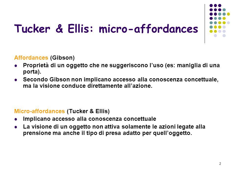 2 Tucker & Ellis: micro-affordances Affordances (Gibson) Proprietà di un oggetto che ne suggeriscono luso (es: maniglia di una porta).