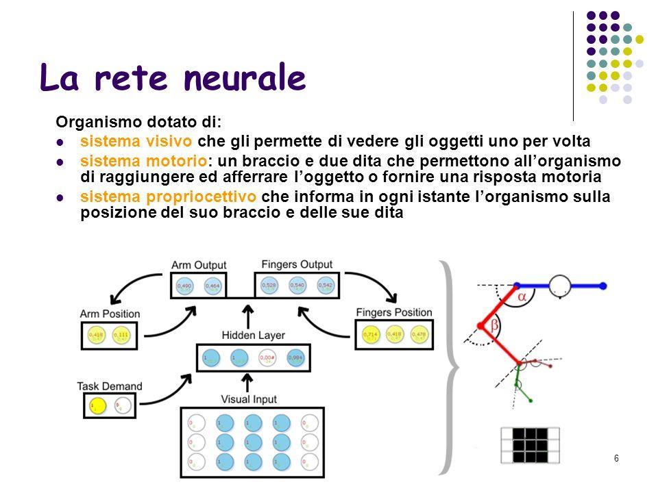 7 Algoritmo genetico Algoritmo genetico: strategia evolutiva (Rechenberg) con mutazioni Popolazione iniziale: 100 individui assegnazione casuale di pesi alle reti neurali degli individui.
