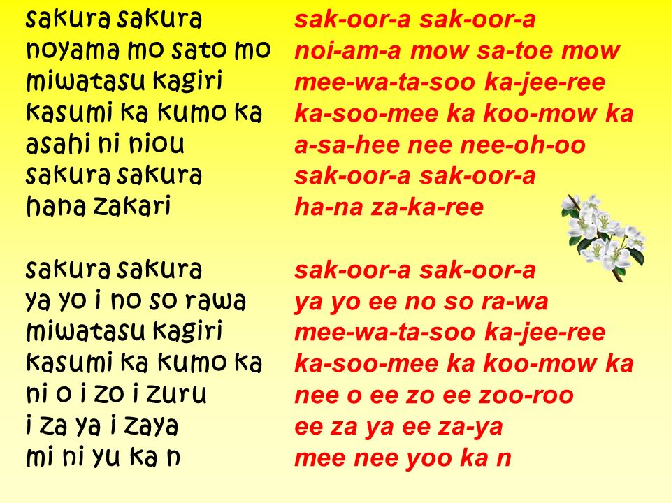 sakura sakura sak-oor-a sak-oor-a noyama mo sato mo noi-am-a mow sa-toe mow miwatasu kagiri mee-wa-ta-soo ka-jee-ree kasumi ka kumo ka ka-soo-mee ka k