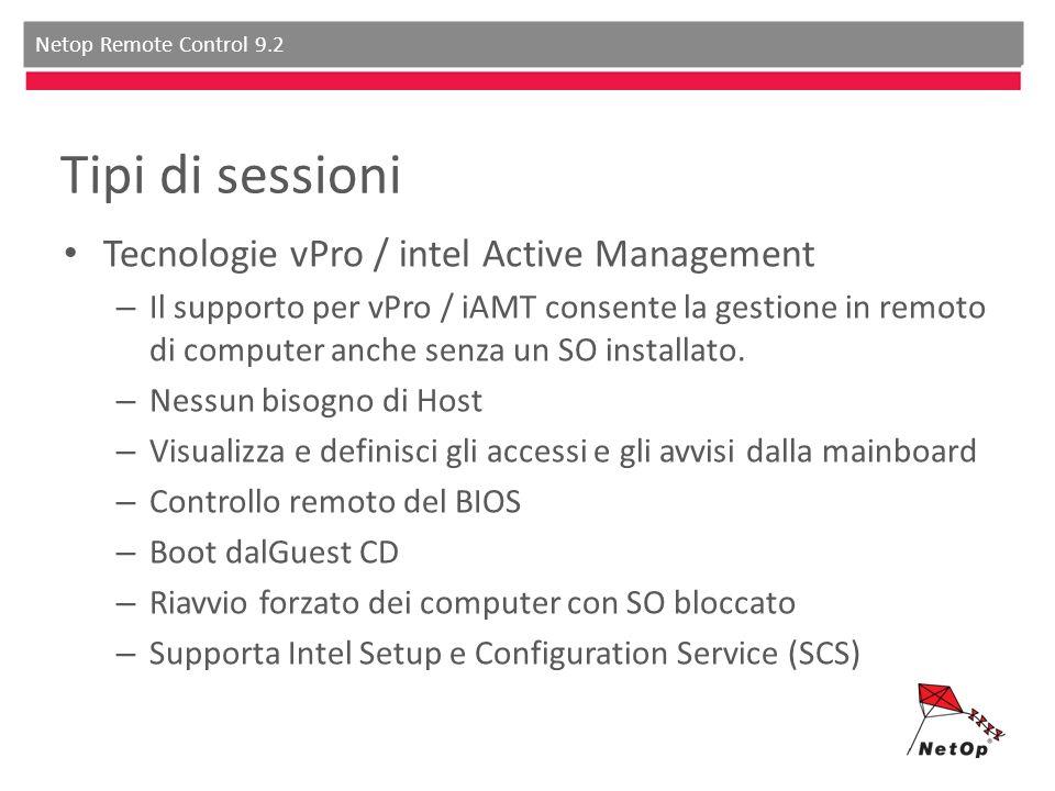 Netop Remote Control 9.2 Tipi di sessioni Tecnologie vPro / intel Active Management – Il supporto per vPro / iAMT consente la gestione in remoto di computer anche senza un SO installato.