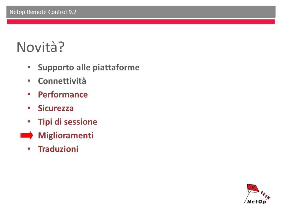 Netop Remote Control 9.2 Novità? Supporto alle piattaforme Connettività Performance Sicurezza Tipi di sessione Miglioramenti Traduzioni