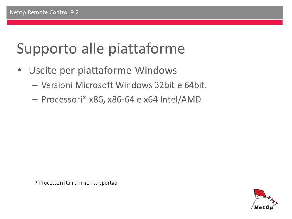 Netop Remote Control 9.2 Supporto alle piattaforme Uscite per piattaforme Windows – Versioni Microsoft Windows 32bit e 64bit. – Processori* x86, x86-6