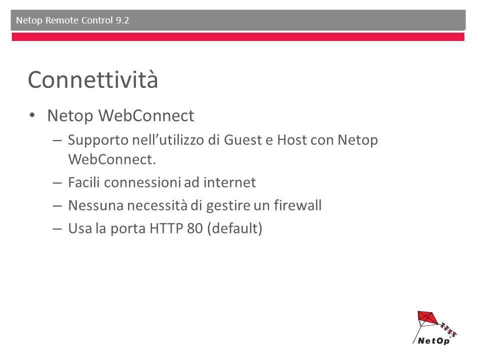 Netop Remote Control 9.2 Connettività Netop WebConnect – Supporto nellutilizzo di Guest e Host con Netop WebConnect. – Facili connessioni ad internet