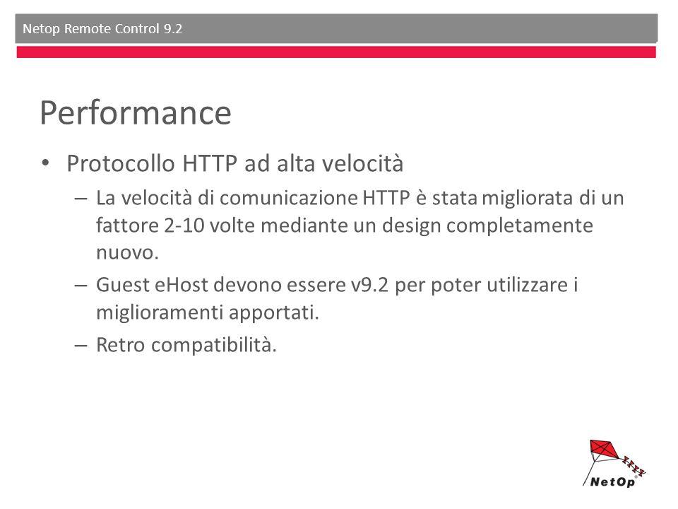 Netop Remote Control 9.2 Performance Protocollo HTTP ad alta velocità – La velocità di comunicazione HTTP è stata migliorata di un fattore 2-10 volte mediante un design completamente nuovo.
