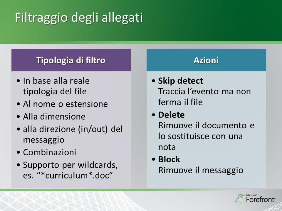 Filtraggio degli allegati Tipologia di filtro In base alla reale tipologia del file Al nome o estensione Alla dimensione alla direzione (in/out) del messaggio Combinazioni Supporto per wildcards, es.