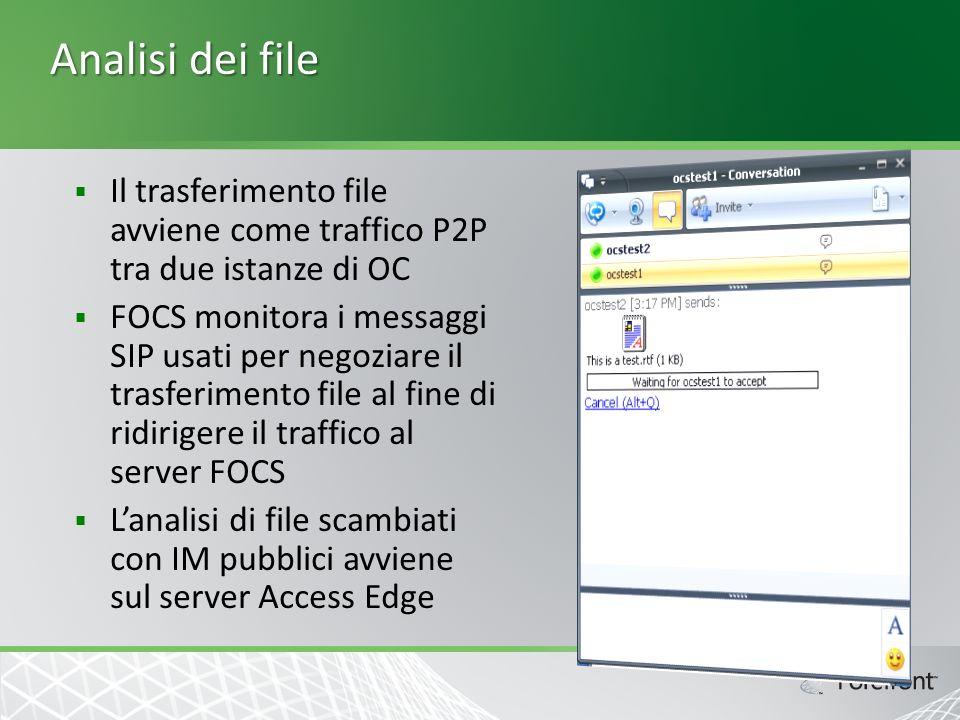 Analisi dei file Il trasferimento file avviene come traffico P2P tra due istanze di OC FOCS monitora i messaggi SIP usati per negoziare il trasferimento file al fine di ridirigere il traffico al server FOCS Lanalisi di file scambiati con IM pubblici avviene sul server Access Edge