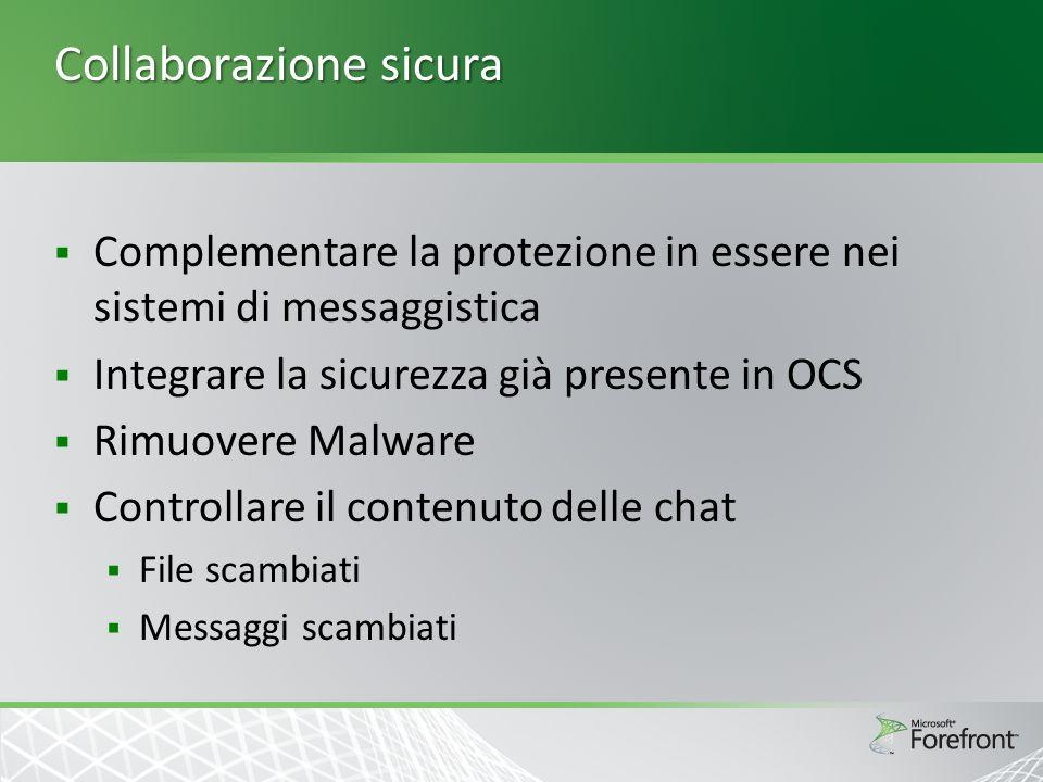 Collaborazione sicura Complementare la protezione in essere nei sistemi di messaggistica Integrare la sicurezza già presente in OCS Rimuovere Malware Controllare il contenuto delle chat File scambiati Messaggi scambiati