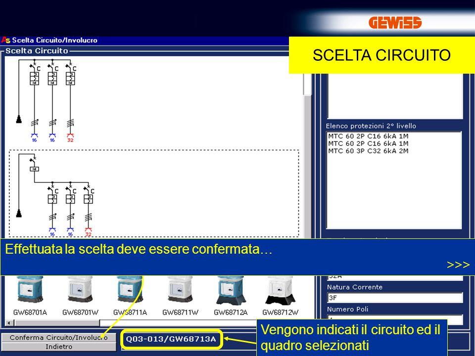 18 SCELTA CIRCUITO Vengono indicati il circuito ed il quadro selezionati Effettuata la scelta deve essere confermata… >>>