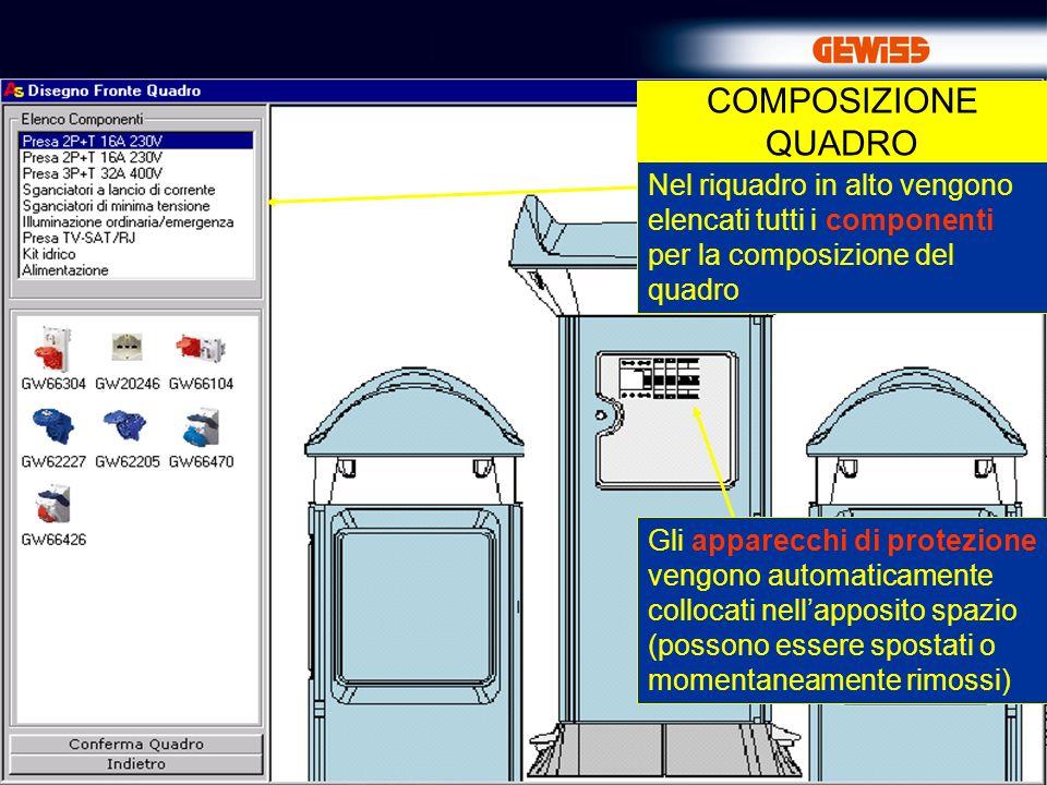 19 COMPOSIZIONE QUADRO Gli apparecchi di protezione vengono automaticamente collocati nellapposito spazio (possono essere spostati o momentaneamente rimossi) Nel riquadro in alto vengono elencati tutti i componenti per la composizione del quadro