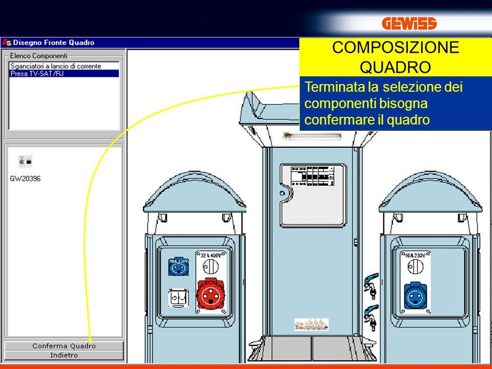 24 COMPOSIZIONE QUADRO Terminata la selezione dei componenti bisogna confermare il quadro