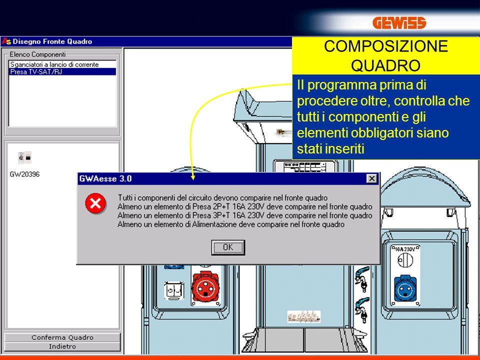 25 COMPOSIZIONE QUADRO Il programma prima di procedere oltre, controlla che tutti i componenti e gli elementi obbligatori siano stati inseriti