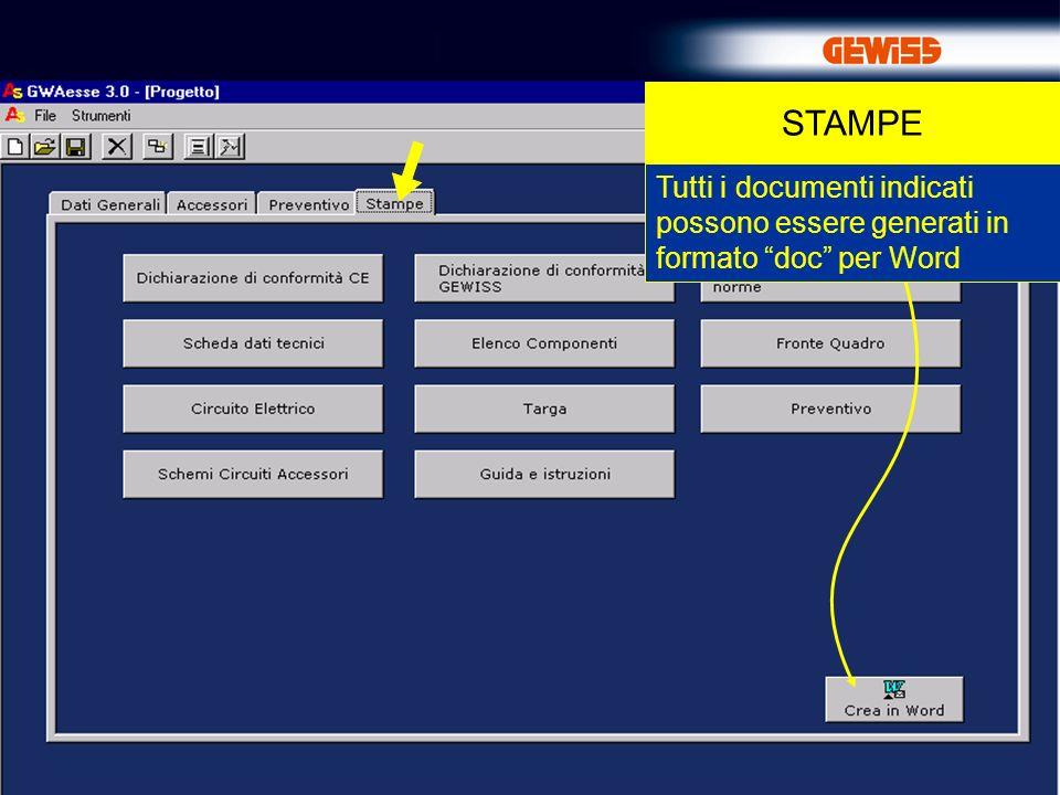 29 STAMPE Tutti i documenti indicati possono essere generati in formato doc per Word