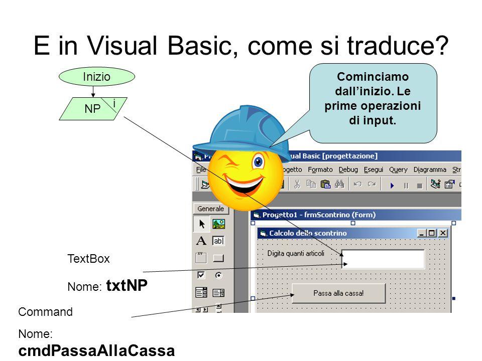 E in Visual Basic, come si traduce? Cominciamo dallinizio. Le prime operazioni di input. Inizio NP i TextBox Nome: txtNP Command Nome: cmdPassaAllaCas