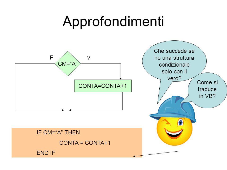 Approfondimenti F CM=A CONTA=CONTA+1 v Che succede se ho una struttura condizionale solo con il vero? Come si traduce in VB? IF CM=A THEN CONTA = CONT