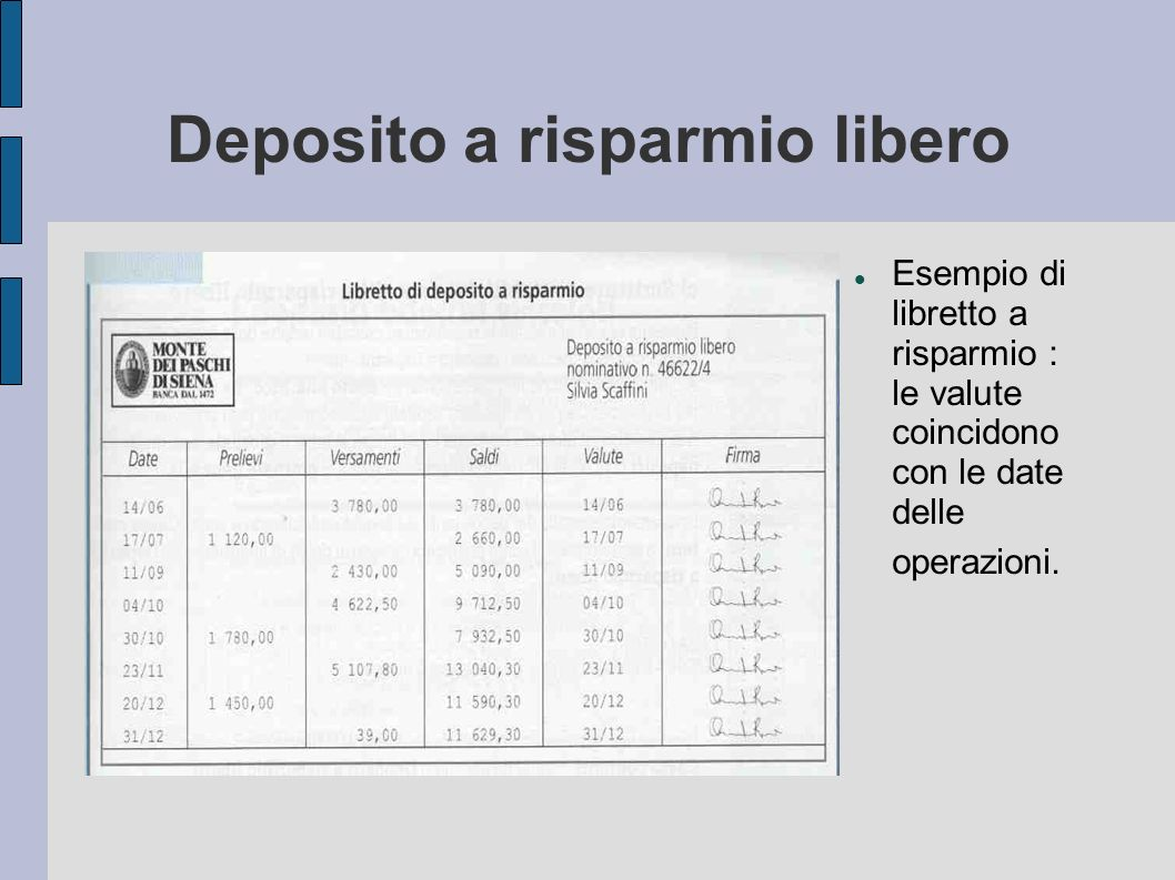 Deposito a risparmio libero Esempio di libretto a risparmio : le valute coincidono con le date delle operazioni.