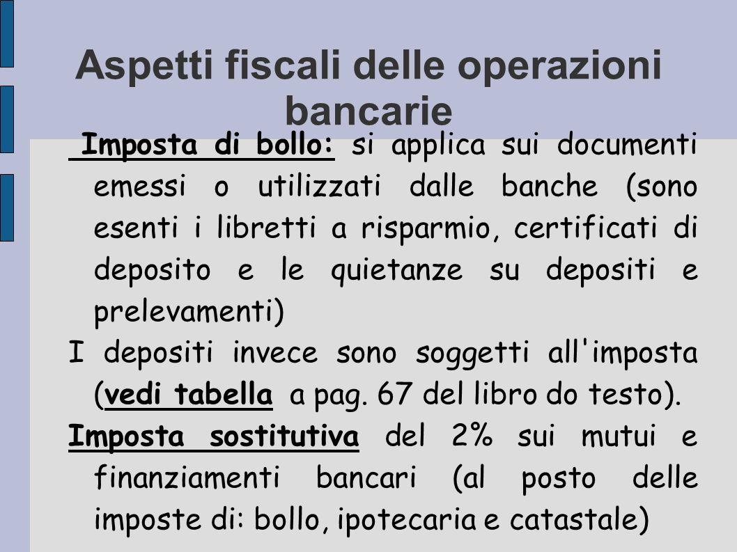Aspetti fiscali delle operazioni bancarie Imposta di bollo: si applica sui documenti emessi o utilizzati dalle banche (sono esenti i libretti a rispar