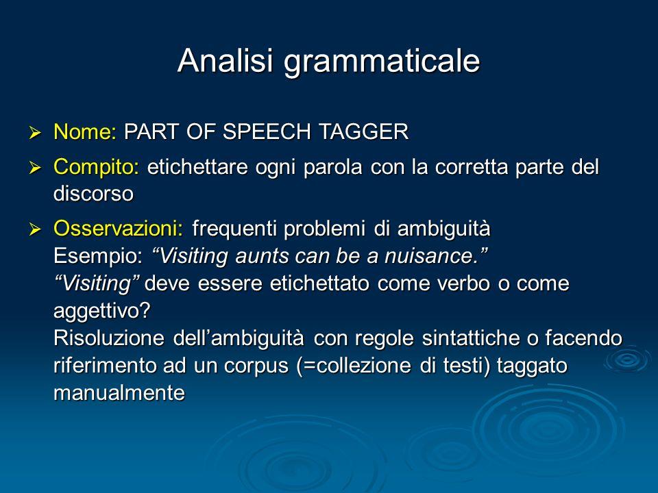 Analisi grammaticale Nome: PART OF SPEECH TAGGER Nome: PART OF SPEECH TAGGER Compito: etichettare ogni parola con la corretta parte del discorso Compi