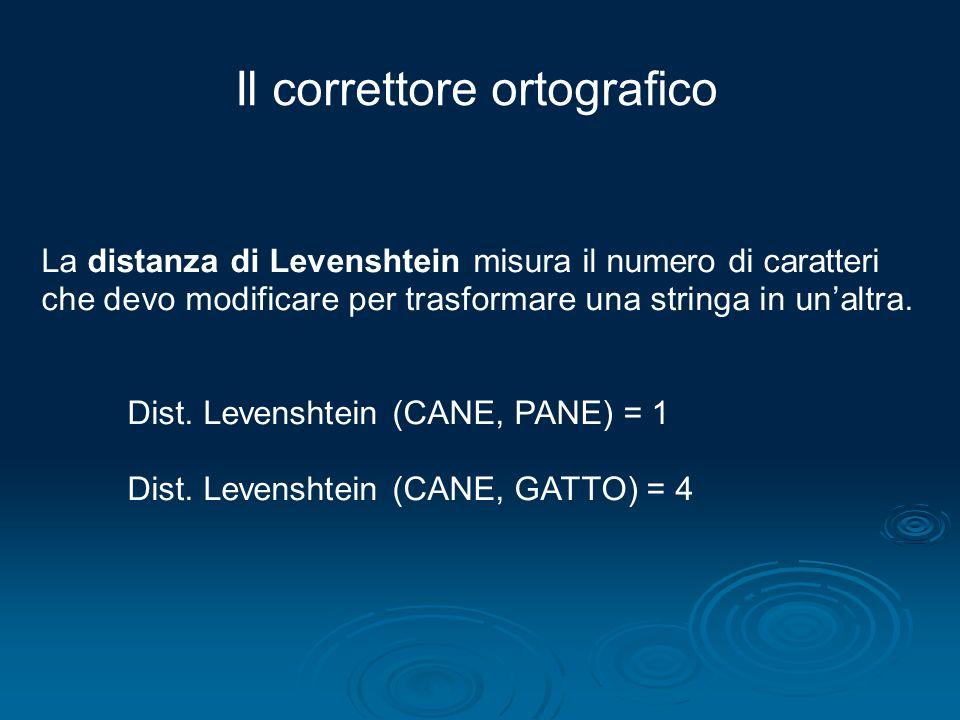 Il correttore ortografico La distanza di Levenshtein misura il numero di caratteri che devo modificare per trasformare una stringa in unaltra. Dist. L