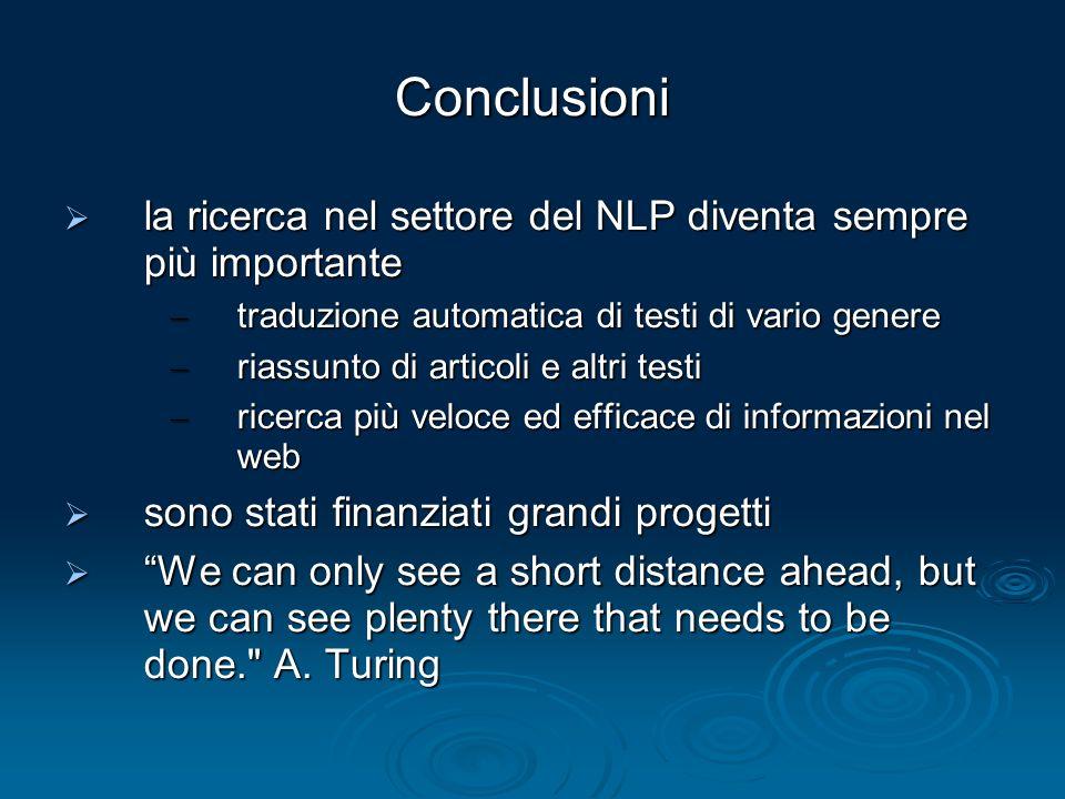 Conclusioni la ricerca nel settore del NLP diventa sempre più importante la ricerca nel settore del NLP diventa sempre più importante – traduzione aut