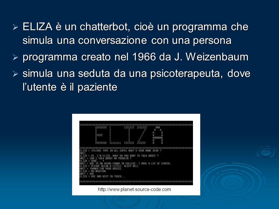 ELIZA è un chatterbot, cioè un programma che simula una conversazione con una persona ELIZA è un chatterbot, cioè un programma che simula una conversa