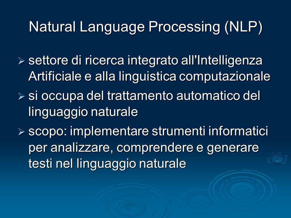 Natural Language Processing (NLP) settore di ricerca integrato all'Intelligenza Artificiale e alla linguistica computazionale settore di ricerca integ