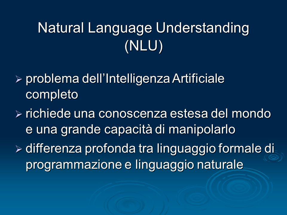 Natural Language Understanding (NLU) problema dellIntelligenza Artificiale completo problema dellIntelligenza Artificiale completo richiede una conosc