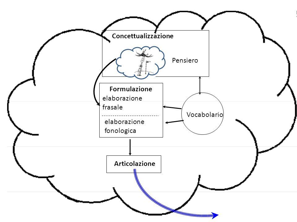 Levelt, 1999; Ferreira & Slevc, 2007 Concettualizzazione Formulazione Articolazione Elaborazione grammaticale + Selezione lessicale Elaborazione fonologica Consensus Model