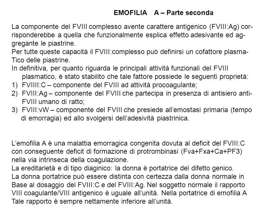 EMOFILIA A – Parte seconda La componente del FVIII complesso avente carattere antigenico (FVIII:Ag) cor- risponderebbe a quella che funzionalmente esp
