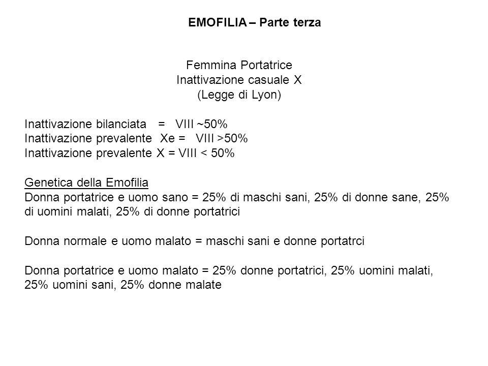 EMOFILIA – Parte terza Femmina Portatrice Inattivazione casuale X (Legge di Lyon) Inattivazione bilanciata = VIII ~50% Inattivazione prevalente Xe = V
