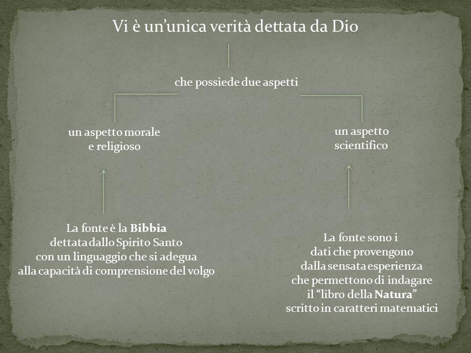 Vi è ununica verità dettata da Dio un aspetto scientifico un aspetto morale e religioso che possiede due aspetti La fonte sono i dati che provengono d