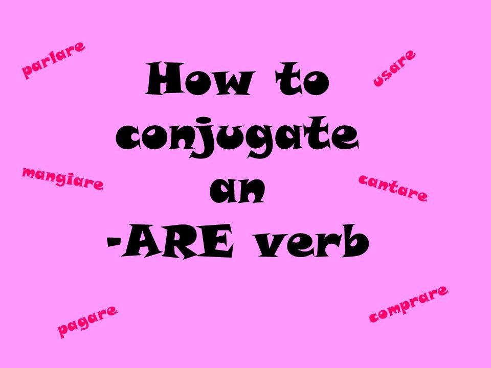 How to conjugate an -ARE verb parlare mangiare cantare pagare comprare usare
